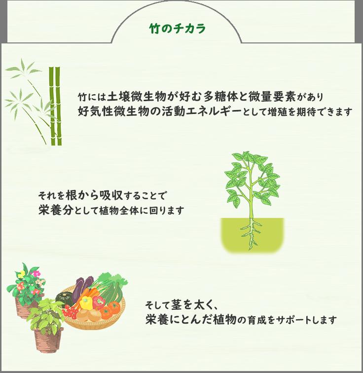 竹のチカラで栄養豊富な作物ができます!